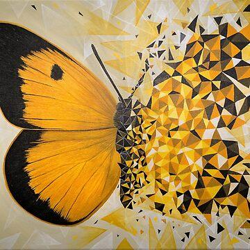 Yellow butterfly geometric explosion by artetbe