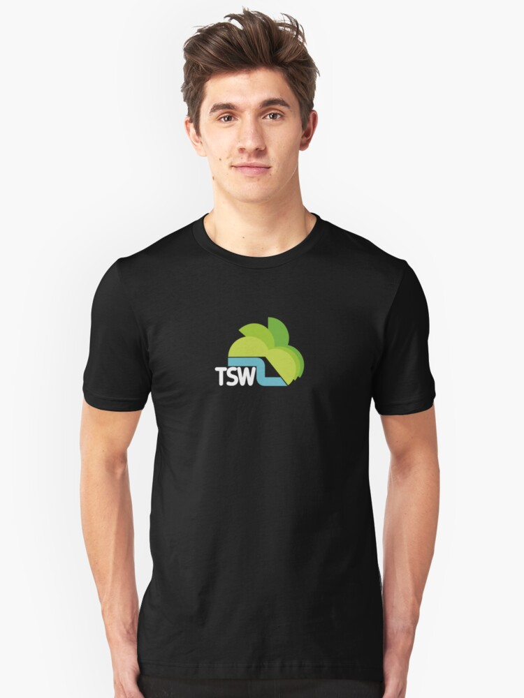 Alternate view of TSW Television South West retro logo  Slim Fit T-Shirt