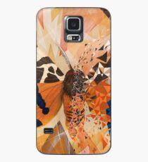 Mariposa naranja y explosión geométrica azul Funda/vinilo para Samsung Galaxy