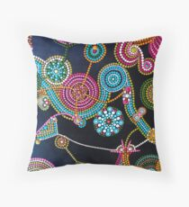 Abstract Dot Painting CHARDED WITH JOY by Dutch Artist Tessa Smits Throw Pillow
