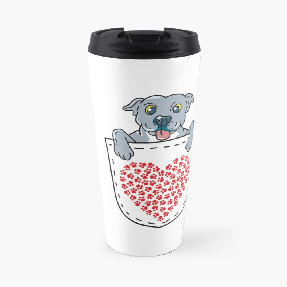 'Blue Nose Pit Bull In Pocket T-Shirt: Valentine's Day Gift' Travel Mug by Dogvills