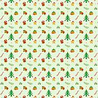 Christmas tree, toy train, Xmas gift, bells and smiling star in a joyful pattern by Zoo-co