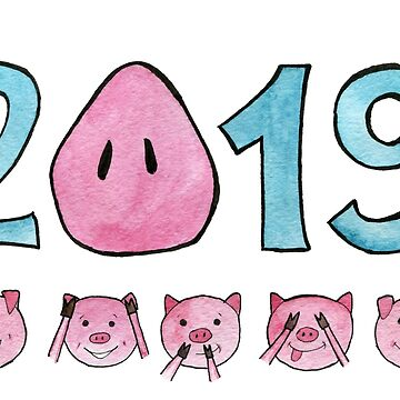 The new year 2019 with a pig's snout instead of zero. Five cute pigs covering eyes, ears and mouth: Don't see, don't hear, don't speak.  by rusmashart
