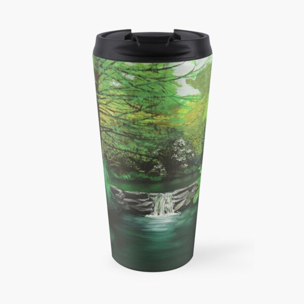 Oil painting of a Waterfall in Clyne gardens Travel Mug