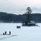 Ice Fishing Hello Bill Island Newfound Lake by Wayne King