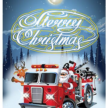Cartoon retro Christmas poster with firetruck and Santa Claus by Mechanick