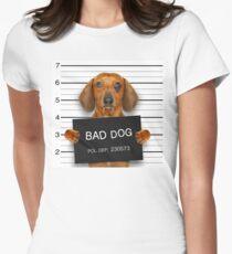Funny Dachshund Mugshot  Women's Fitted T-Shirt