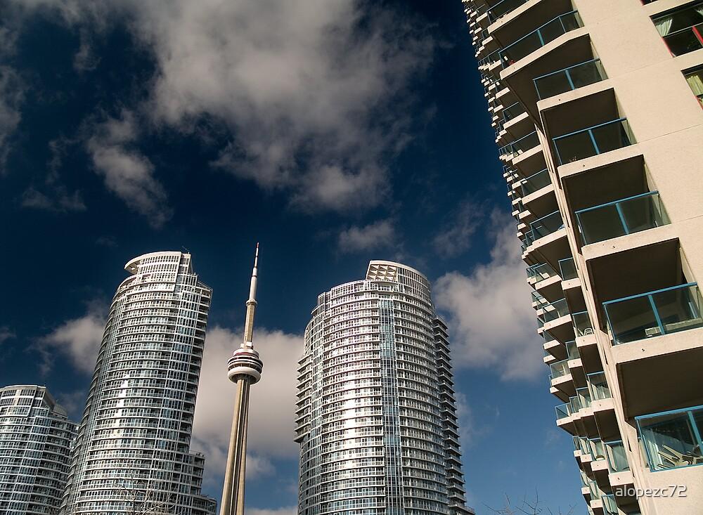 CN tower between condos by alopezc72