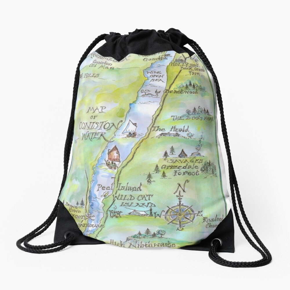 Swallows and Amazons map of Coniston Water Drawstring Bag