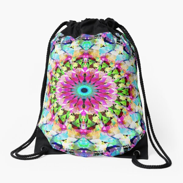 Mixed Media Mandala 8 Drawstring Bag