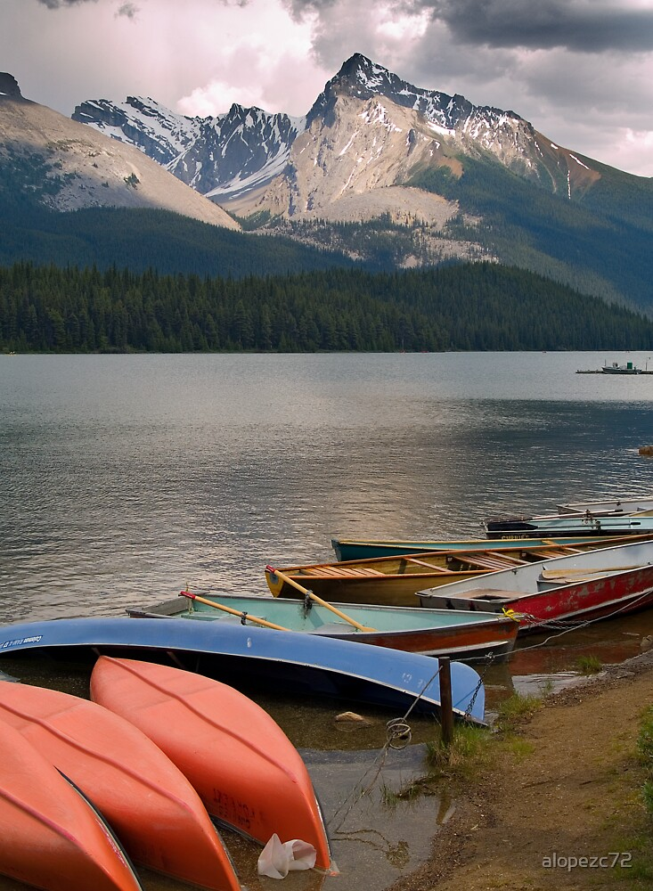 Canoes on the Maligne Lake , Jasper National Park , Canada by alopezc72