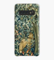 GREENERY, FOREST ANIMALS Pheasant and Fox Blue Green Floral Tapestry Case/Skin for Samsung Galaxy
