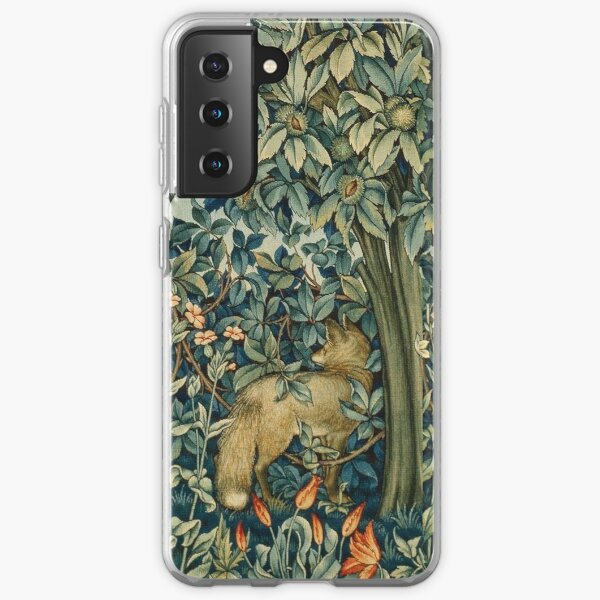 GREENERY, FOREST ANIMALS Pheasant and Fox Blue Green Floral Tapestry Samsung Galaxy Soft Case