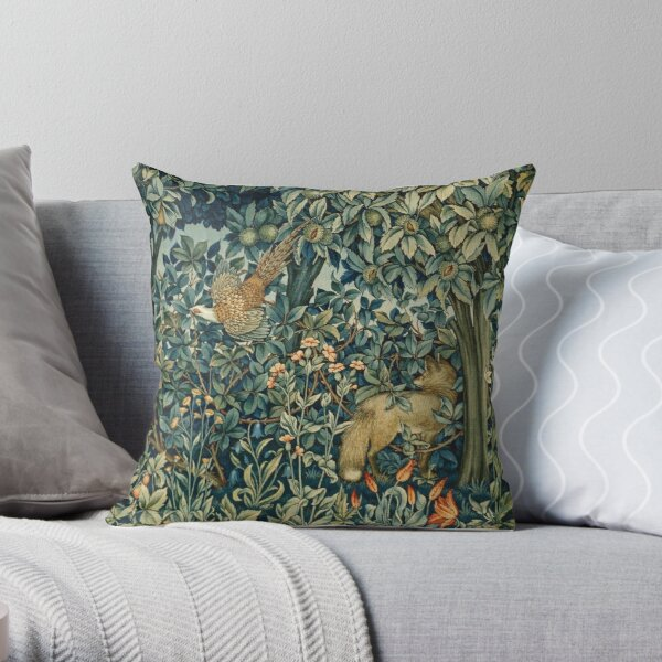 GREENERY, FOREST ANIMALS Pheasant and Fox Blue Green Floral Tapestry Throw Pillow