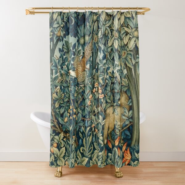 GREENERY, FOREST ANIMALS Pheasant and Fox Blue Green Floral Tapestry Shower Curtain