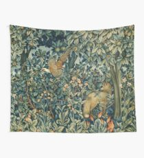 GREENERY, FOREST ANIMALS Pheasant and Fox Blue Green Floral Tapestry Wall Tapestry