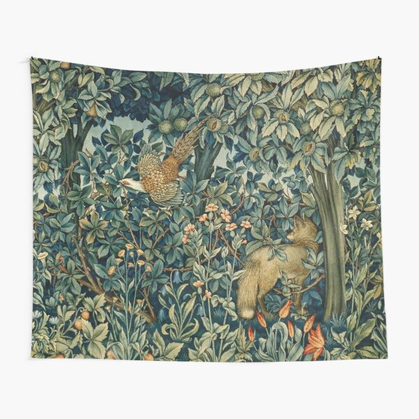GREENERY, FOREST ANIMALS Pheasant and Fox Blue Green Floral Tapestry Tapestry
