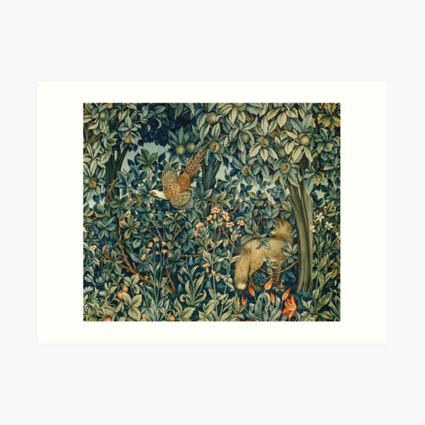 GREENERY, FOREST ANIMALS Pheasant and Fox Blue Green Floral Tapestry Art Print