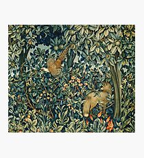 GREENERY, FOREST ANIMALS Pheasant and Fox Blue Green Floral Tapestry Photographic Print