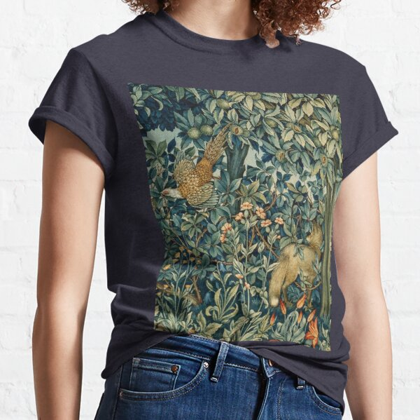 GREENERY, FOREST ANIMALS Pheasant and Fox Blue Green Floral Tapestry Classic T-Shirt
