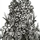 Vertical Garden, Ink Drawing by Danielle Scott