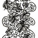 Floating Flowers, Ink Drawing by Danielle Scott