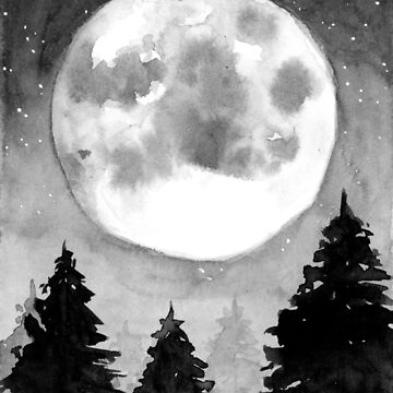 Black & White Full Moon - Watercolour Painting by patti2905