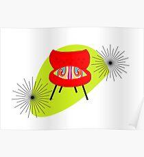 Modern Mid-Century Retro Chair Illustations Poster