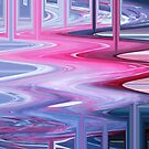 Dripping Fluid Paints; Pink, Blue and White  by juggleelephants