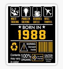 Birthday Gift Ideas - Born In 1988 Sticker
