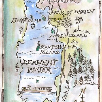 Swallows and Amazons map of Derwentwater by Sophie Neville by SophieNeville