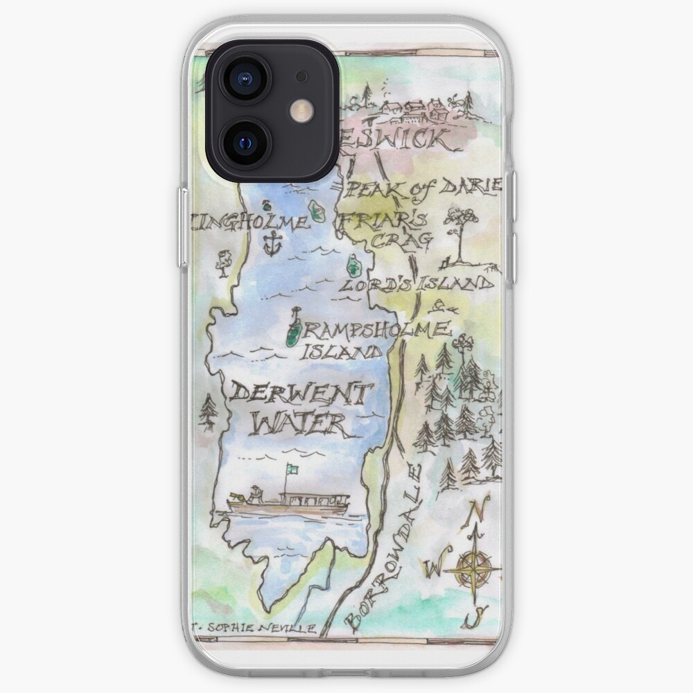 Swallows and Amazons map of Derwentwater by Sophie Neville -  iPhone Case & Cover