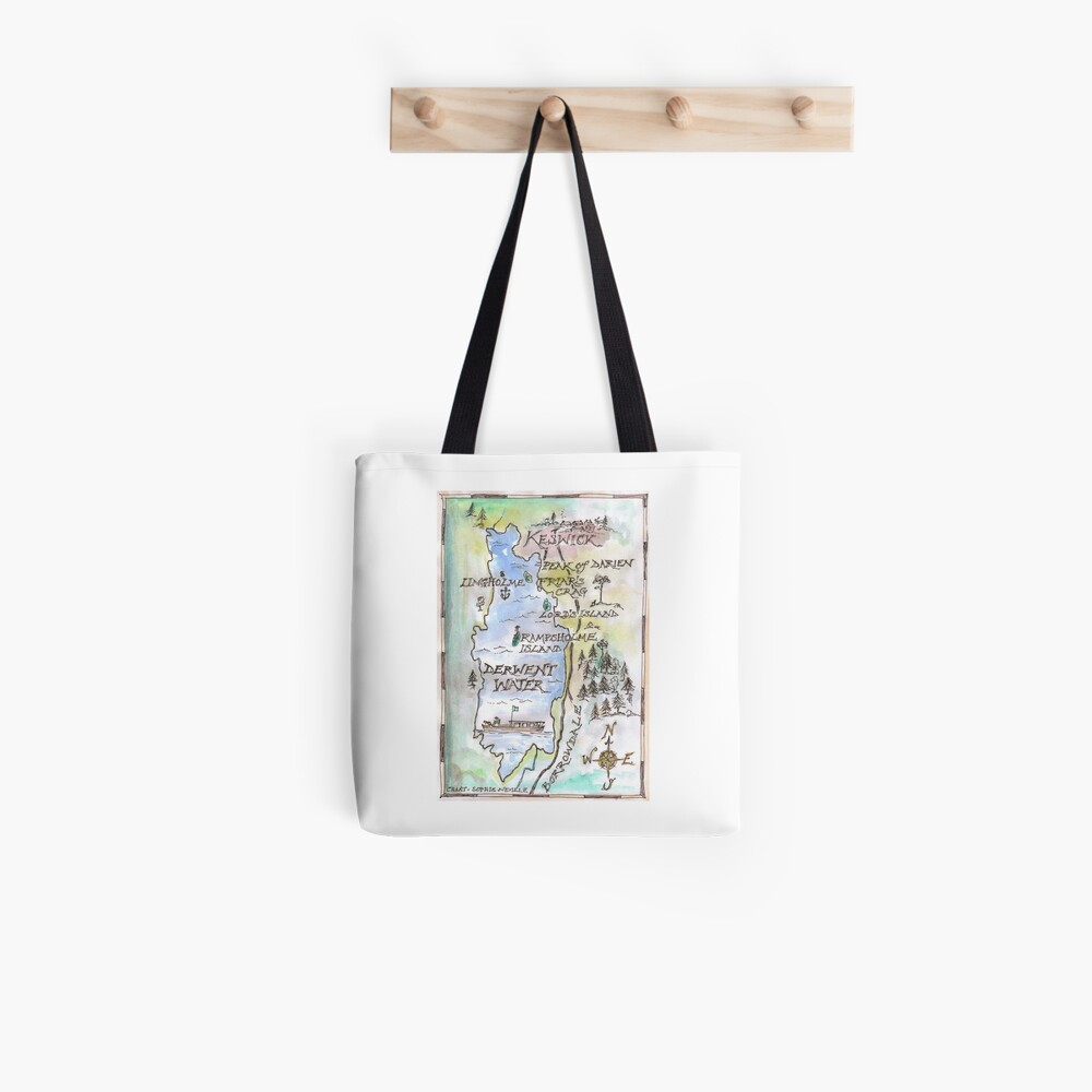 Swallows and Amazons map of Derwentwater by Sophie Neville -  Tote Bag