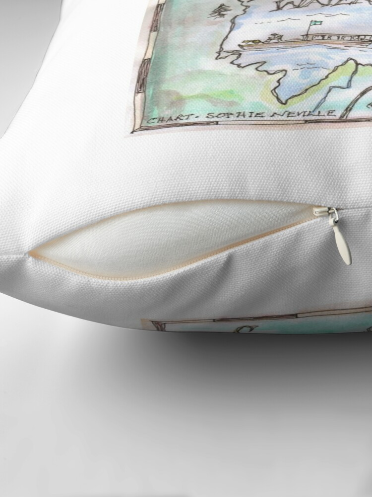 Alternate view of Swallows and Amazons map of Derwentwater by Sophie Neville -  Throw Pillow
