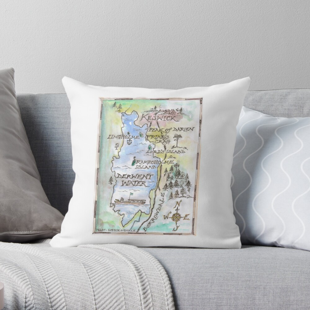 Swallows and Amazons map of Derwentwater by Sophie Neville -  Throw Pillow