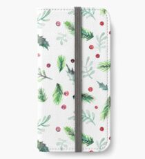 Winter Holiday Botanical Watercolor iPhone Wallet/Case/Skin