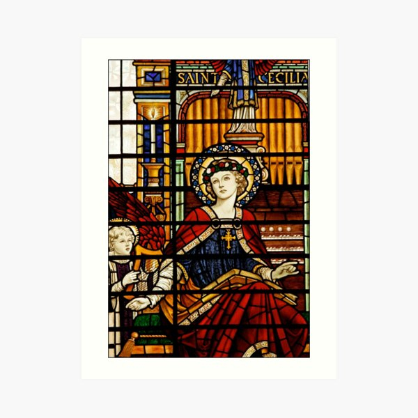 Saint Cecilia Stained Glass Organ Art Print
