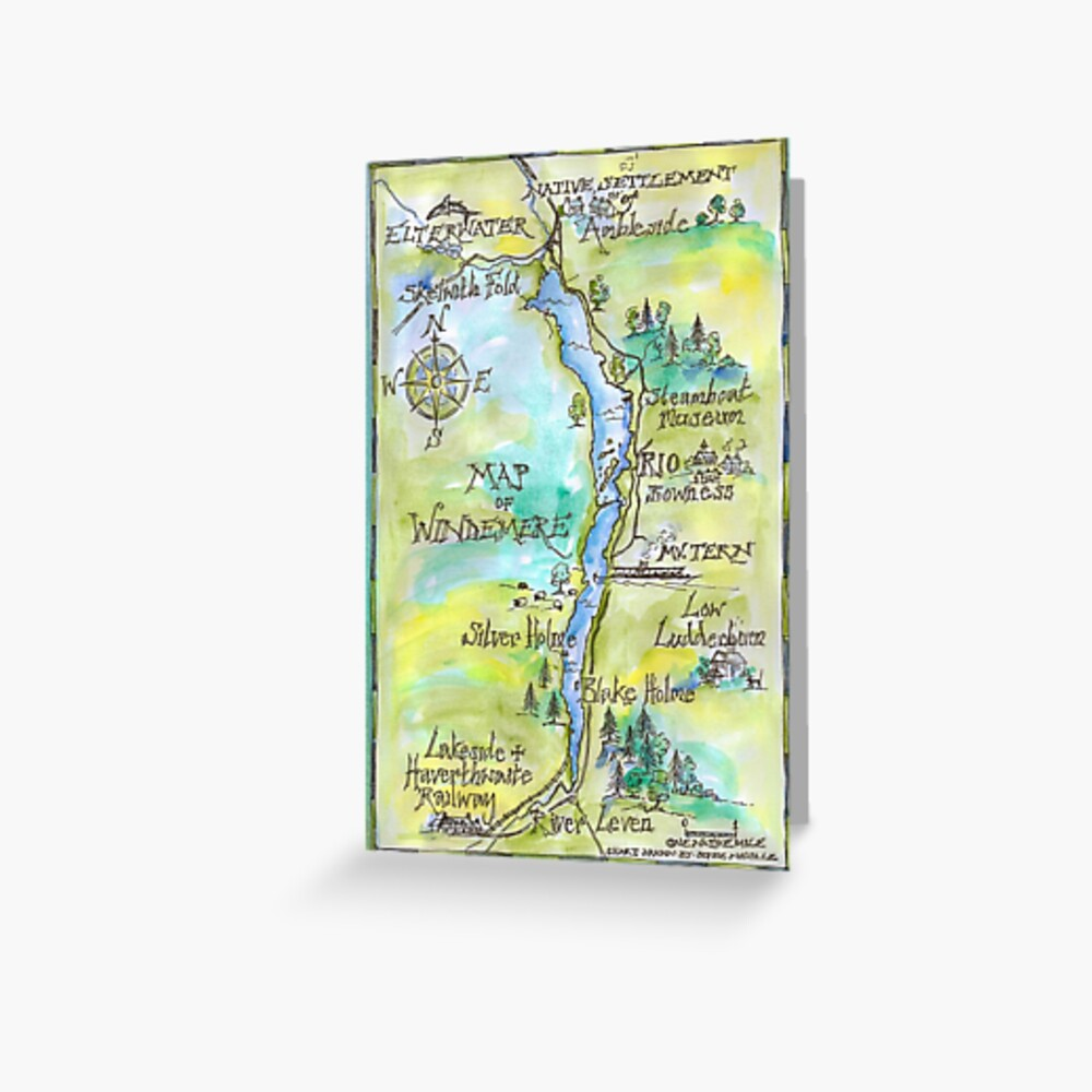 Swallows and Amazons map of Windermere by Sophie Neville -  Greeting Card