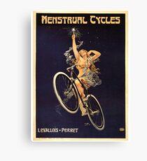 Vintage Bicycle Poster Parody - Menstrual Cycles Canvas Print