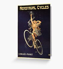 Vintage Bicycle Poster Parody - Menstrual Cycles Greeting Card