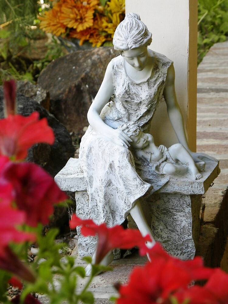 Mother and Child in Garden Statue by Jimlhanson
