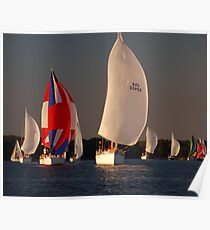 Spinnakers at Sunset Poster