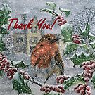 Robin in Snow - Thank You Card by EuniceWilkie