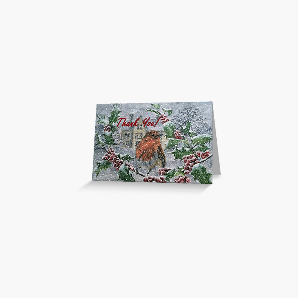 Robin in Snow - Thank You Card Greeting Card