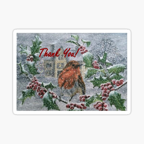Robin in Snow - Thank You Card Sticker