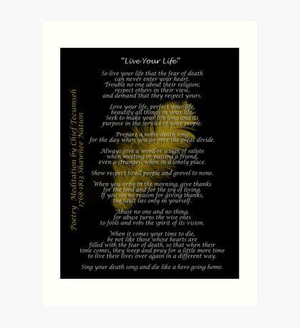 """""""Lebe dein Leben"""" Goldene Feder von Chief Tecumseh Kunstdruck"""