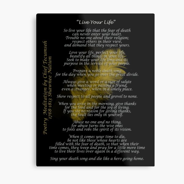 """""""Live Your Life""""  Golden feather by Chief Tecumseh Metal Print"""