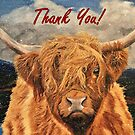 Highland Cow in Early Snow - Thank You Card by EuniceWilkie
