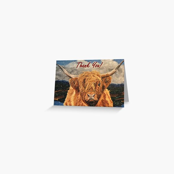 Highland Cow in Early Snow - Thank You Card Greeting Card