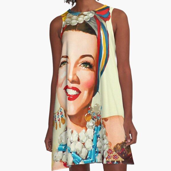 Gemälde von Carmen Miranda A-Linien Kleid
